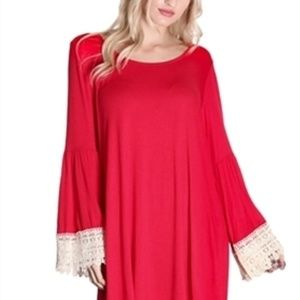 RED Color Crochet Bell Sleeve Tunic Top